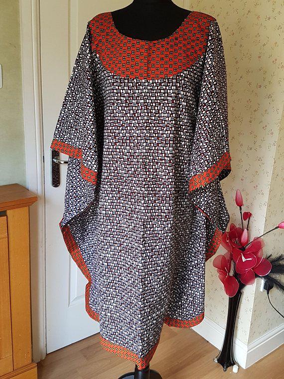 Imprimé africain, robe caftan africain, Boubou. Dimensions: UK taille 10-12, nous 6-8 Longueur (de l'épaule à l'ourlet) de la robe longue de 41