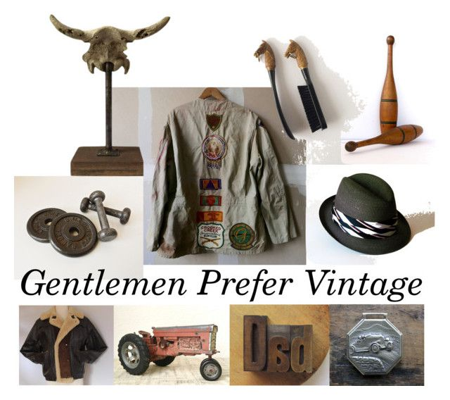 """Gentlemen Prefer Vintage"" by vintageandmain ❤ liked on Polyvore featuring Abercrombie & Fitch, vintage, men's fashion and menswear"