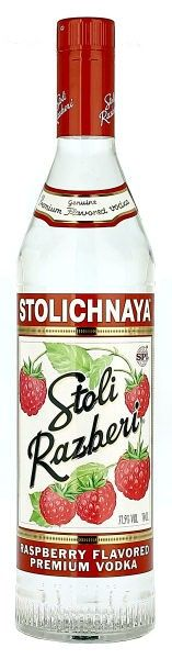 *Stoli Razberi Vodka, Tier 1-Stolichnaya raspberry flavored grain based Russian vodka (Latvia), grain vodkas are smooth & fruity, distilled 3 times, each distillation produces a purer spirit that is smoother on the palate, infused w/all natural flavors, intense nose of-raspberry jam/boiled sweets/berry fruit infusions; palate-raspberry/sweet spice of rye & wheat grain vodka w/crisp citrus notes; finished w/hints of pepper/wild raspberry cane; 1 oz=60 calories, 0.5 g carbs, 70 proof, 1…