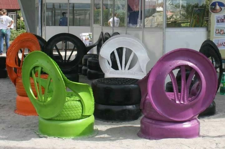 Love these, such a cool idea - Recycled tires to chairs -- painted bright colors...how fun
