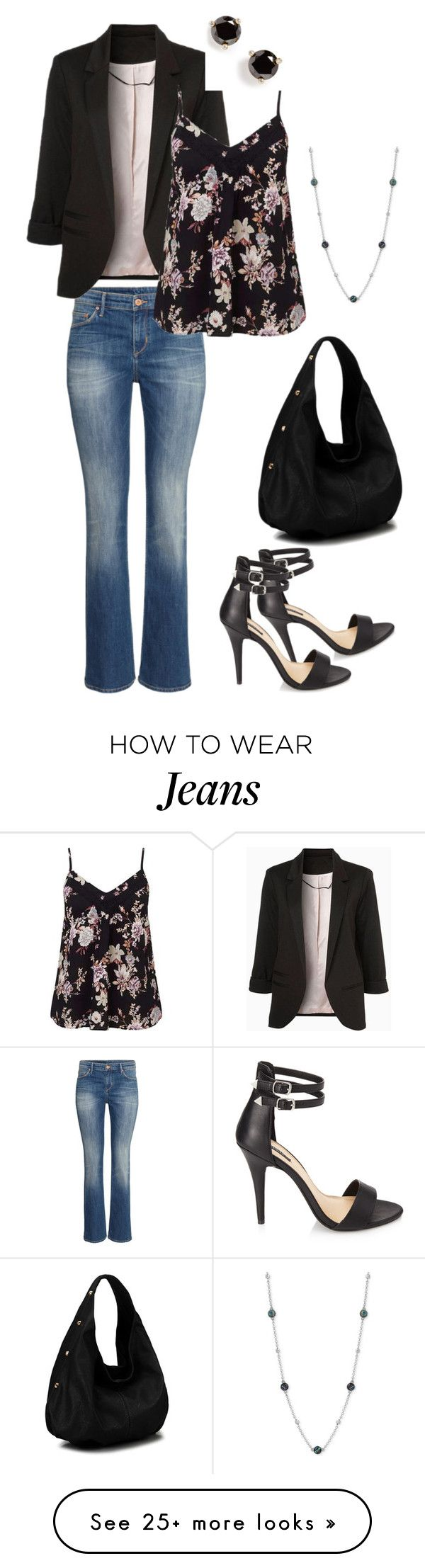"""""""Casual Friday Dressy Jeans"""" by sassenachstudio on Polyvore featuring Forever 21, Miss Selfridge, Lucky Brand and Kate Spade"""