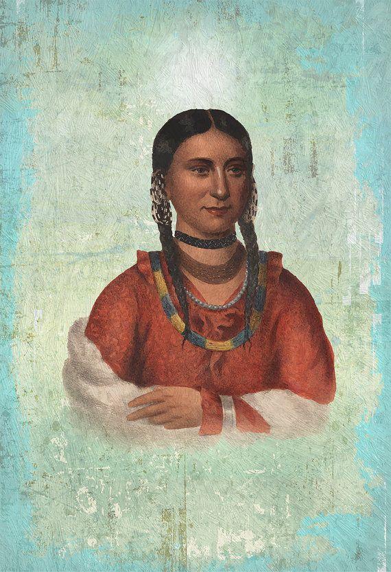 Mujer nativa americana Vintage ilustración impresión por WeLoveCMYK