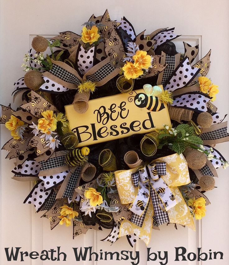 "Spring Summer Deco Mesh Bumblebee Wreath with Handmade Wood ""Bee Blessed"" Sign, Front Door Wreath, Yellow Black Wreath, Bee Wreath by WreathWhimsybyRobin on Etsy"