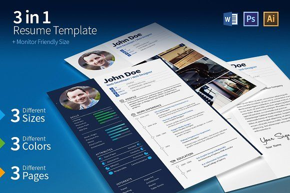 3 in 1 Resume Set (+ Screen Size) by PieGraphix on @creativemarket
