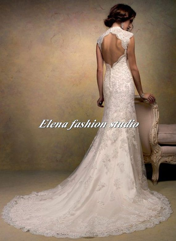 Open back lace wedding dress vintage lace by for Lace wedding dresses open back