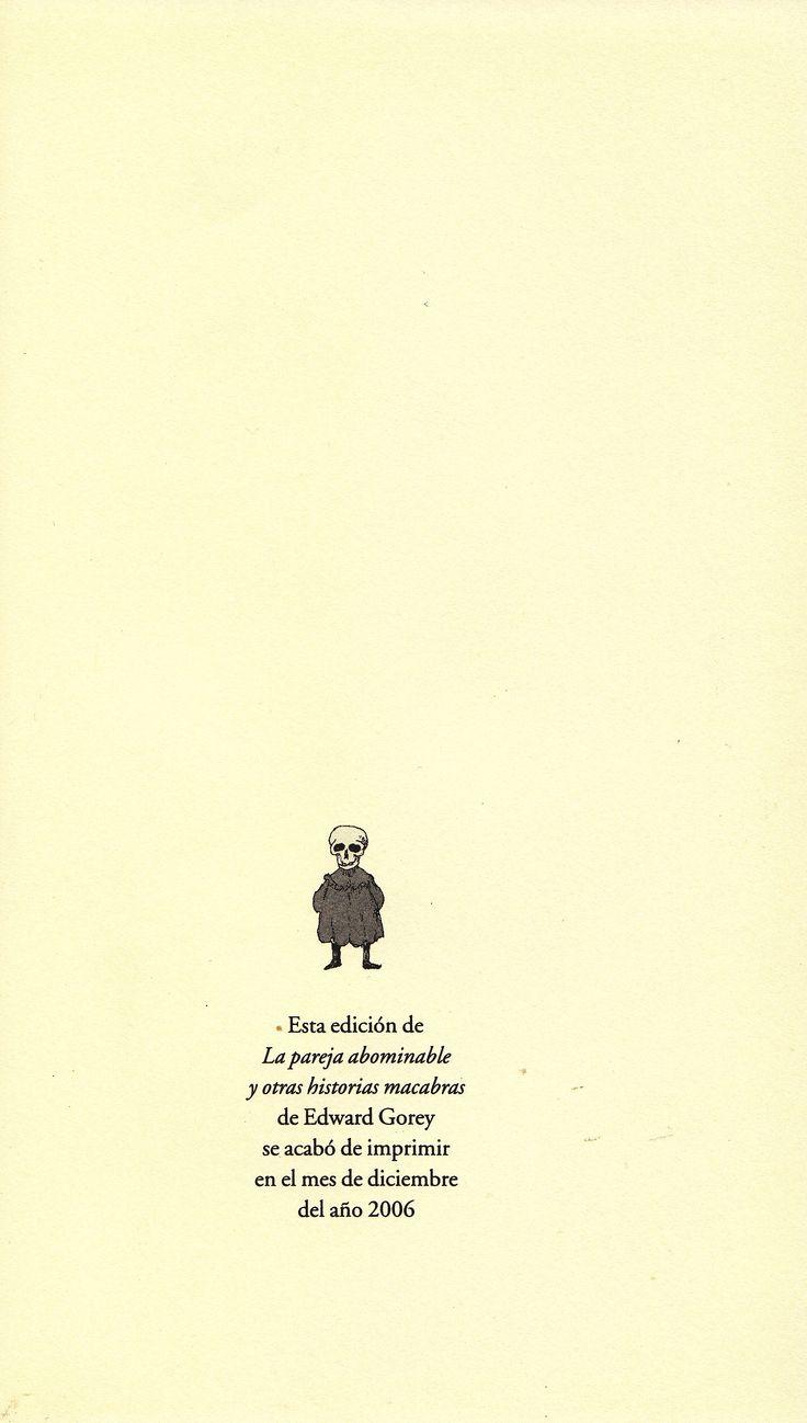 """GOREY, Edward. """"La pareja abominable y otras historias macabras"""". Madrid: Valdemar, 2006."""