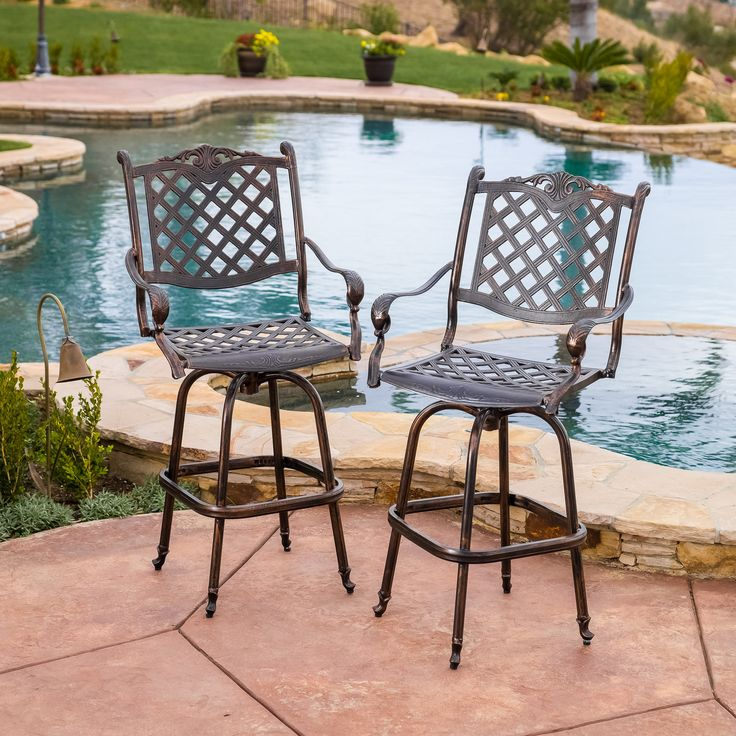 pomelo outdoor cast aluminum bar stools set of 2