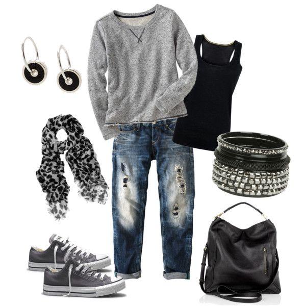 gray Gap sweatshirt, black tank, boyfriend jeans, leopard print scarf, stacked silver bracelets, gray Converse