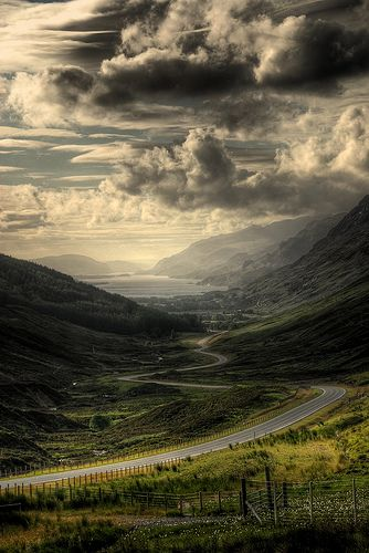 Road to the coast by Gogoye on Flickr Taken in Scotland. What a magnificent view!