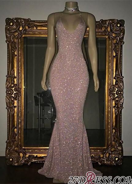Mermaid Stunning Spaghetti-strap Sequined Sleeveless Long Prom Dress