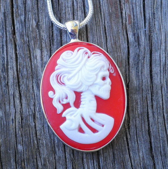 Red Lolita Day of the Dead Pendant $25
