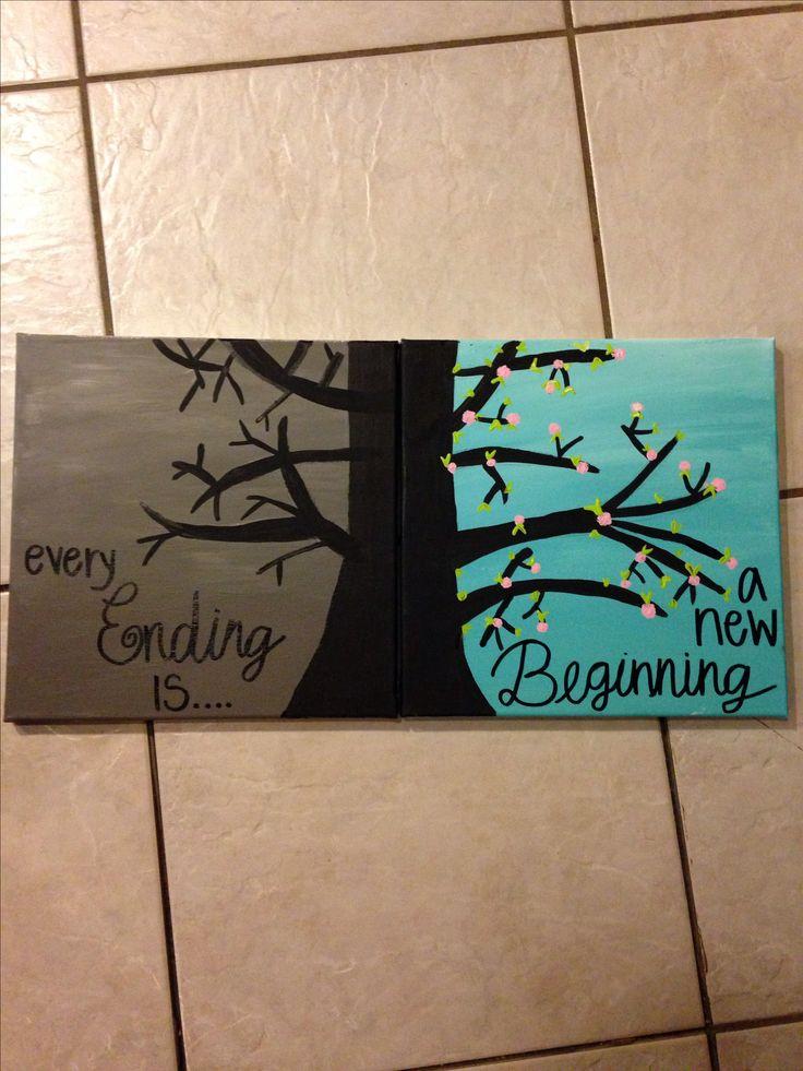 DIY crafts canvas trees