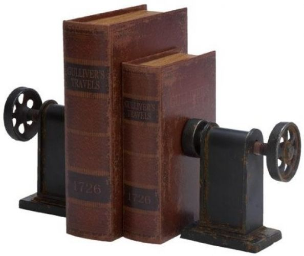 Modern chic. Rural styling. Expertly made. Our arrangement of two Industrial Bookends will add processing plant chic enthusiasm to your work area or shelf. Metal development. Dark complete finishes the look. | eBay!