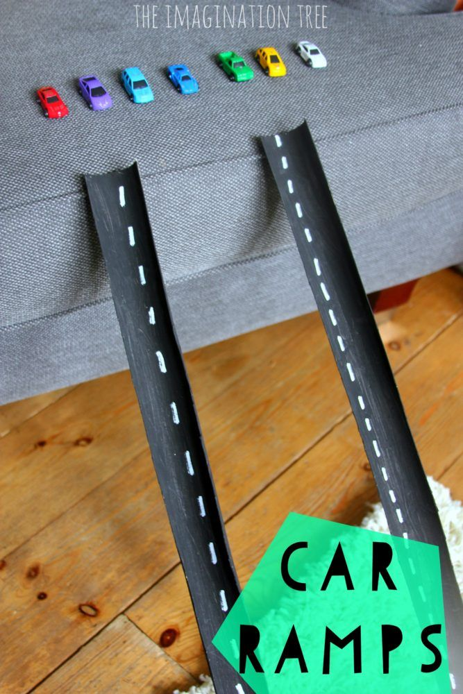 Cardboard tube car ramps for play!