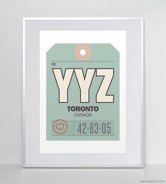 Toronto, Ontario, Canada, YYZ. Baggage Tag Poster. Luggage Tag Print. Travel Poster. Airport Code. Typographic Print. on Etsy, $24.56 CAD This is so cute! But in Hamilton...