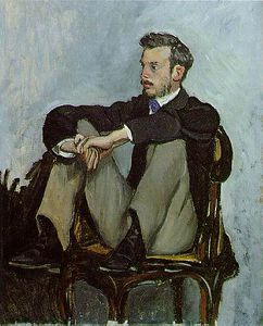 Portrait of Pierre-Auguste Renoir, Oil on canv - (Jean Frederic Bazille)