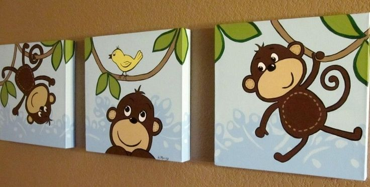 monkey canvas pictures | Monkey Canvas Art for Children, Set of Three 12x12 inch Acrylic on ...