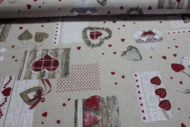 HOME DECOR / POTAHOVKY | Dřevěná srdce - červená | LÁTKY METRÁŽ | PATCHWORK | GALANTERIE