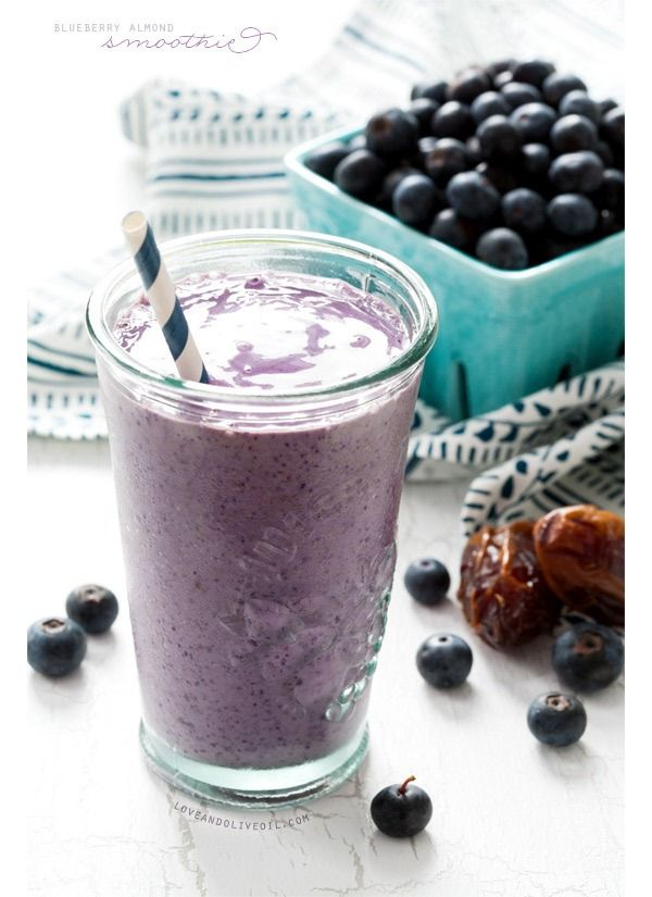 Blueberry Almond Butter Smoothie –If you're looking for meal-replacement smoothie, look no further. This one's overflowing with protein from rich almond butter and antioxidants from frozen blueberries. With over 18 grams of protein and a hefty dose of fiber, cravings won't come crawling back an hour later. Get the recipe from Love and Olive Oil.