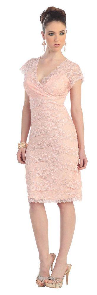 Short Lace Vintage Formal Cocktail Dress Modest Plus Size Wedding Guest Gown   #ThedressoutleT #Formal