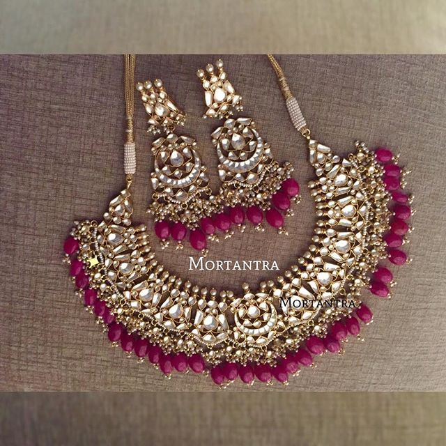 We were the first ones to make this design in Imitation at such an affordable rate, we introduced it in green ❤️ After that, there were many many 'versions' floating in .. And funnily , Our happy clients introduced us to other versions of this necklace so we decided to give green a break :p here we are with a blissful color A satisfying plum color to add vibrance to your look ❤️ The best selling necklace of mortantra now added to the list of 'always in stock' ❤️ #beauty #bridaldream...