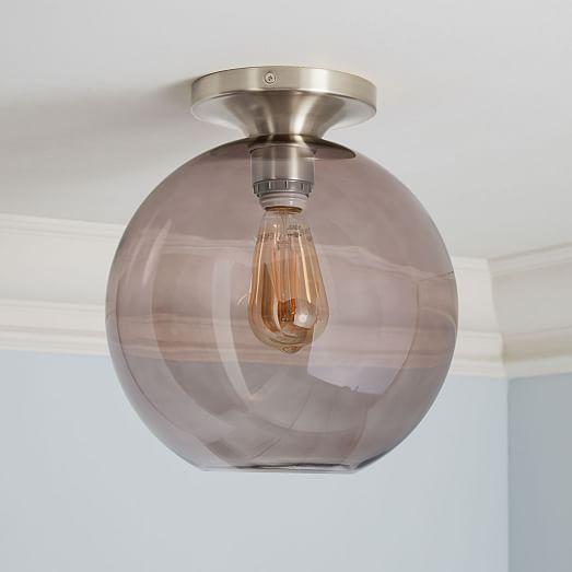 Sculptural Glass Globe Flushmount - Medium (Smoke)