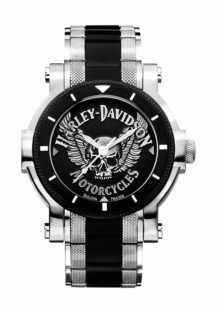 Mens Harley Davidson Skull With Wings Watch By Bulova