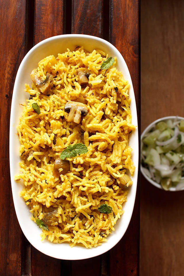 "south indian mushroom biryani ""It's not that it wasn't good, but I prefer plain basmati with Indian dishes. It also seemed to lack a complex flavor considering the plethora of spices and steps to make it."" KD"