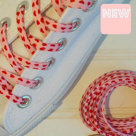 Tiny pink heart shoelaces cutelaces converse lovers gifts