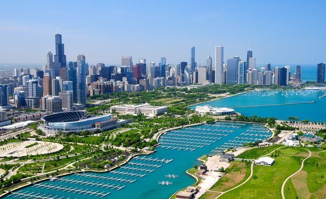 Chicago skyline and soldiers field stadium