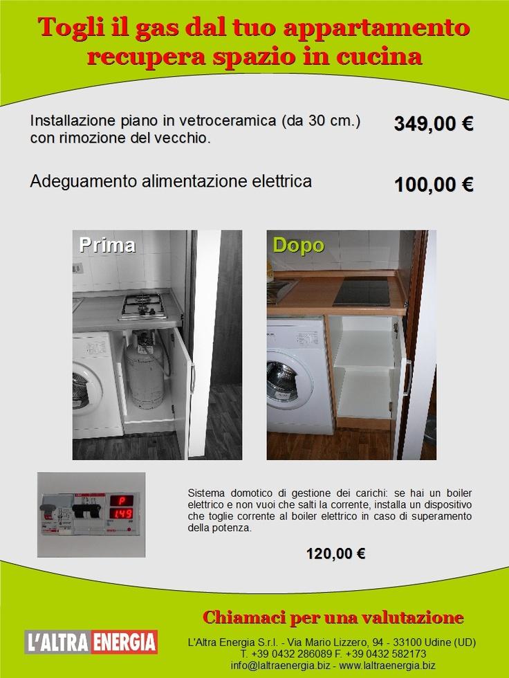 Campagna promozionale di sostituzione piano cottura tradizionale a gas con un piano in vetroceramica. Volantino per la zona Lignano-Bibione.