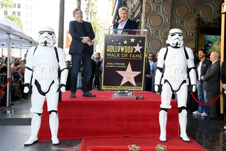 HOLLYWOOD, CA - MARCH 08:  Harrison Ford (R) speaks as Mark Hamill is honored with a star on the Hollywood Walk of Fame on March 8, 2018 in Hollywood, California.  (Photo by Steve Granitz/WireImage) via @AOL_Lifestyle Read more: https://www.aol.com/article/entertainment/2018/03/08/star-wars-icon-mark-hamill-receives-hollywood-walk-of-fame-star-alongside-harrison-ford-george-lucas-and-r2d2/23380932/?a_dgi=aolshare_pinterest#fullscreen