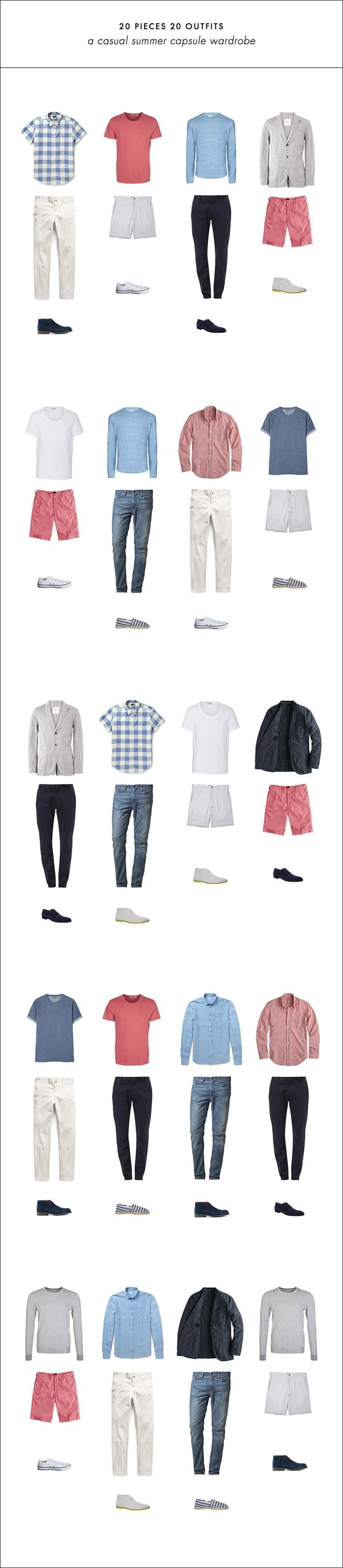 20 Outfits with 20 Pieces // Easy mens summer capsule wardrobe