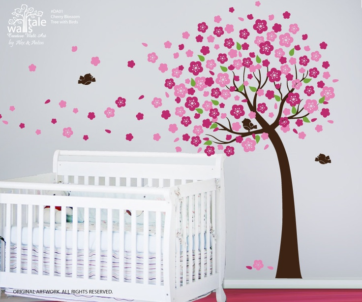 Cherry Blossom Tree wall decal with leaves and 3 birds. Tree wall decal for nursery, baby room. Nursery tree decals.. $78.00, via Etsy.