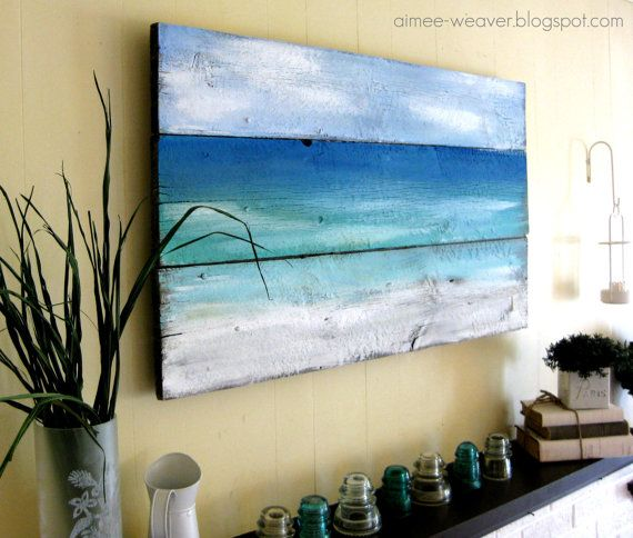 Unique and beautiful seaside-inspired original painting using an antique wood barn door. This one-of-a-kind art piece looks wonderful with almost any kind of decor!    The painting measures approx. 24 x 42 and comes ready to hang with hardware attached.      Let me know if you have any questions!    ~Aimee  aimee-weaver.blogspot.com