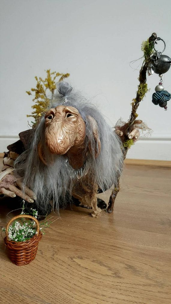 RESERVED For T. - Final Payment: CUSTOM - Extra Large OOAK Fantasy Fae Poseable Art Doll Character (The Dark Crystal)