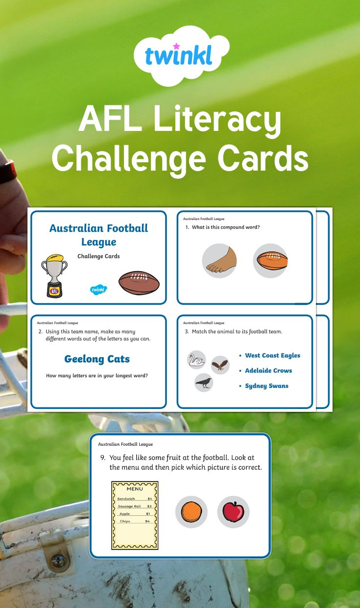 Afl Literacy Challenge Cards Football Activity Challenges Activities Card Challenges