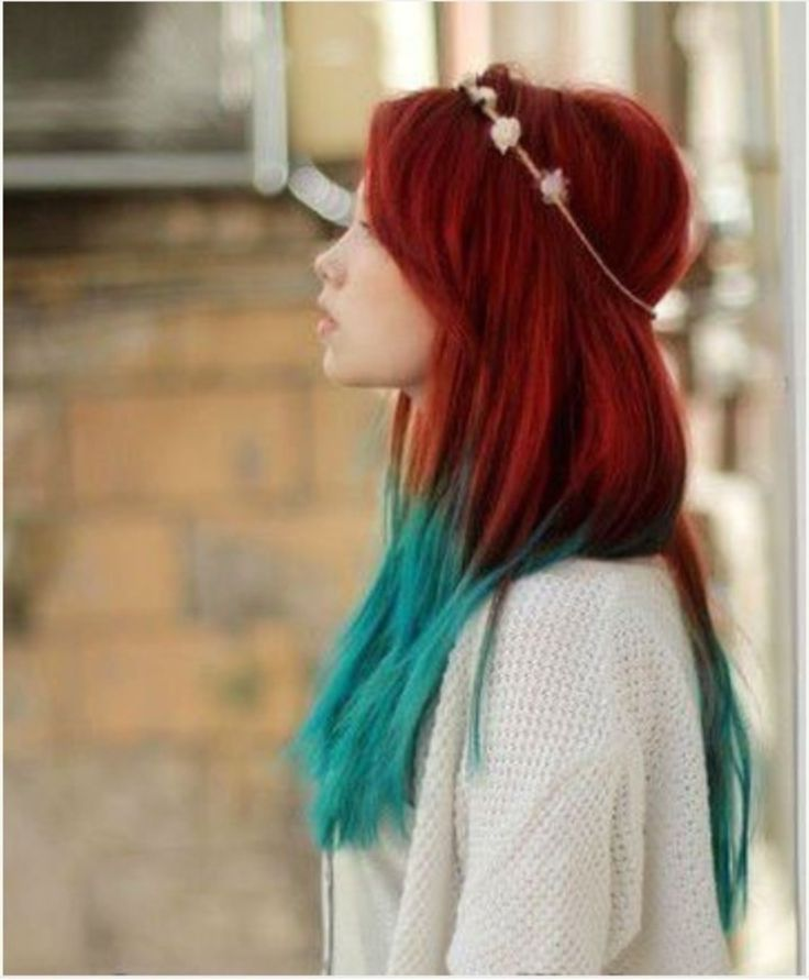 red into turquoise...pretty easy to do.....lighten ends ombre style, and the blue tones totally work...