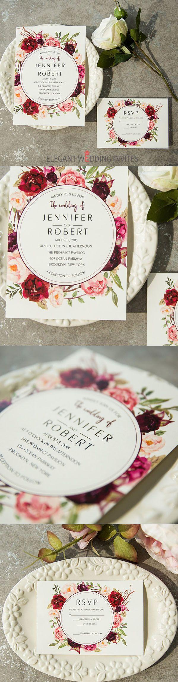 cheap burgundy floral boho vintage wedding invitations