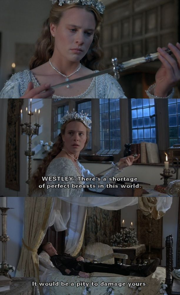 """There's a shortage of perfect breasts in this world."" (The Princess Bride) one of my favorite lines!"