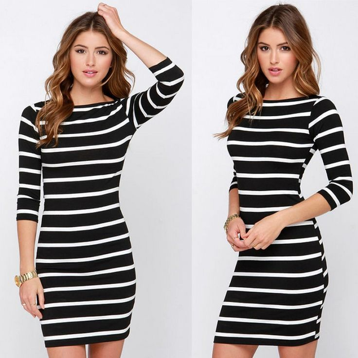Stylish stripped round neck plunging dress to make you look smoky hot. Get more from minchic.com
