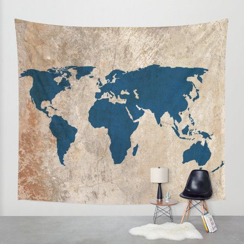 Wall Tapestry // Rustic World Map