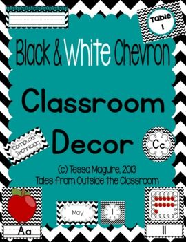 Classroom Decor- Black and White Chevron: Alphabet charts, number charts, calendar cards, classroom jobs, table signs, name tags, word wall pieces, and more!
