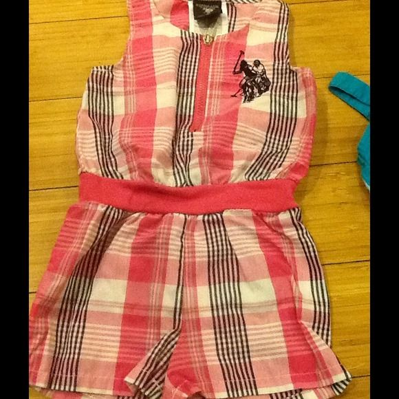 Polo romper Cute Polo association plaid pink black and white romper! In good condition. US Polo Association  Other