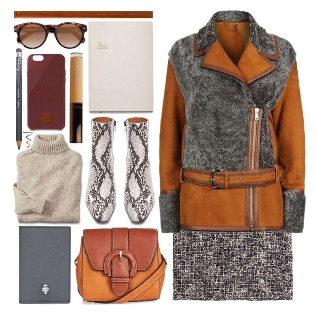 """""""mini skirt for winter"""" by foundlostme ❤ liked on Polyvore featuring The Kooples, Whistles, Alexander McQueen, Native Union, Rimmel, Topshop, Becca, MINISKIRT and winterjacket"""