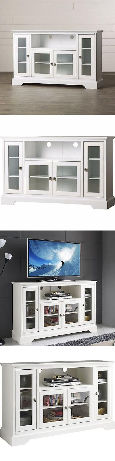Entertainment Units, TV Stands: White Tv Stand Media Console Storage Home Entertainment Center Wood Furniture BUY IT NOW ONLY: $525.95 #priceabateEntertainmentUnitsTVStands OR #priceabate