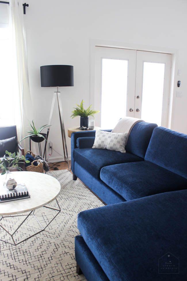 Modern Living Room Reveal Love Create Celebrate Blue Sofas Living Room Living Room Reveal Blue Couch Living Room
