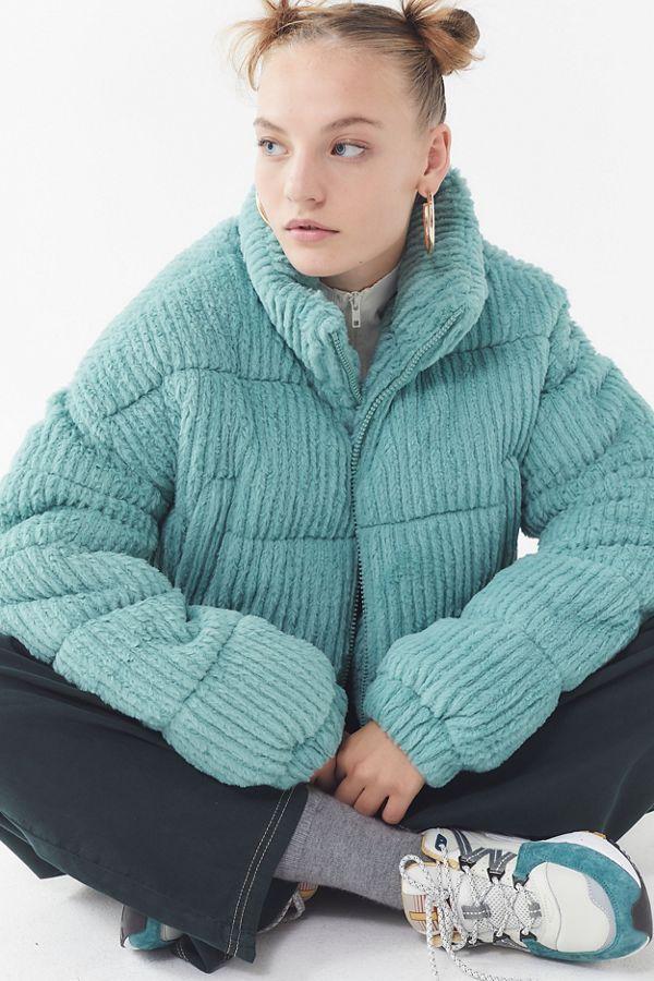80629d4d9 UO Fluffy Corduroy Puffer Coat