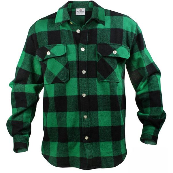 Green Black Buffalo Plaid Extra Heavyweight Brawny Flannel Shirt ($42) ❤ liked on Polyvore featuring tops, buffalo plaid shirt, flannel top, flannel shirt, green shirt and buffalo check shirts