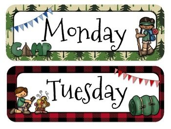 """These days/months headers are adorable! I love the whole idea of having """"happy campers"""" in my classroom this year! Goes perfect with all the other camping theme in this store!"""